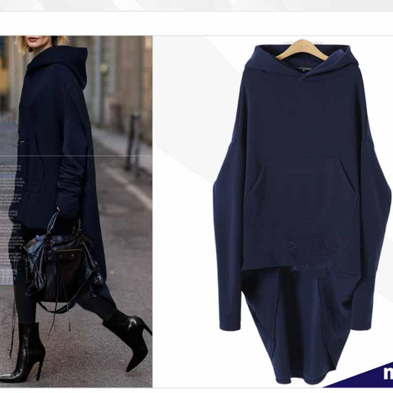 Hooded Long Sleeve Plain Asymmetrical Hem Fashion Blouse
