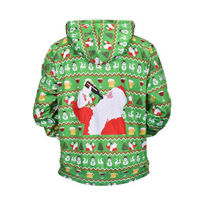 Halloween Green Loose Father Christmas Printed Knit Hoodie