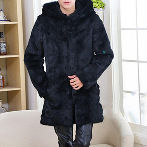 Men's Fur Hooded Long Section Imitation Water Mane Suede Warm Coat