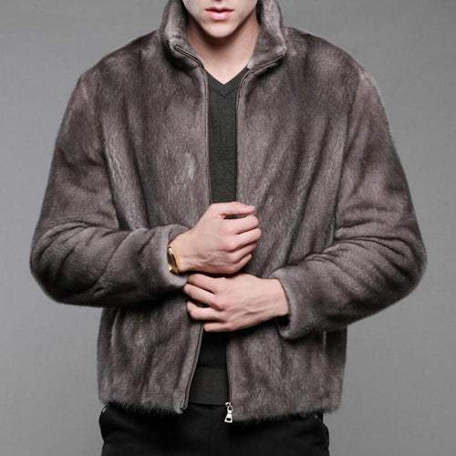 Imitation Suede Men's Sturdy Collared Mink Fur Coat