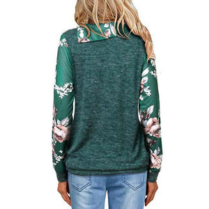 Fashion  Lapel  Floral Printed  Button Casual Blouse