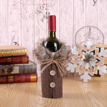 Load image into Gallery viewer, Christmas Check Bow Decorated Wine Bottle Cover