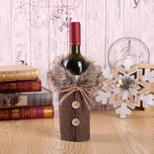 Christmas Check Bow Decorated Wine Bottle Cover