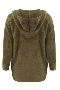Hooded  Plain  Teddy Outerwear