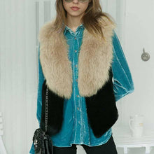 Load image into Gallery viewer, Faux Fur Collar Plain  Leather Waistcoat