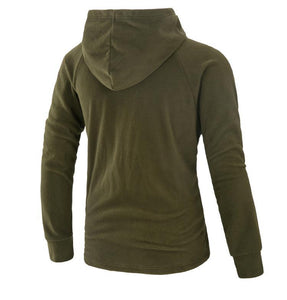Casual Plain Slim Ox Horh Button Irregular Hoodie