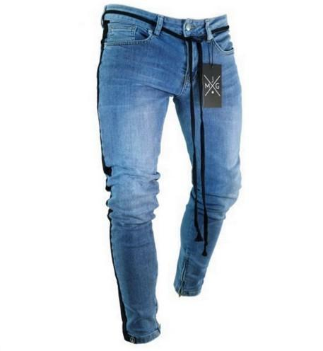 New Knee Hole Side Zipper Slim Distressed Jeans