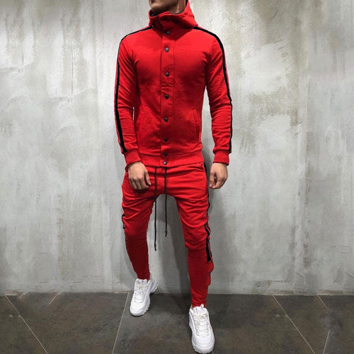 Fashion Color Blocking Plain Zipper Coat Pants Suit