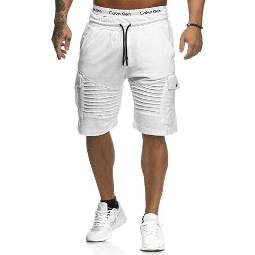 Casual Striped Pocket Sports Slim Five-Point Shorts