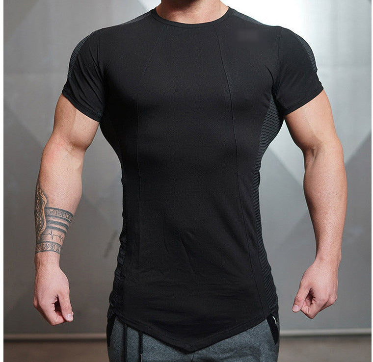 Men's Patchwork Style Casual Shorts Sleeve T-Shirts