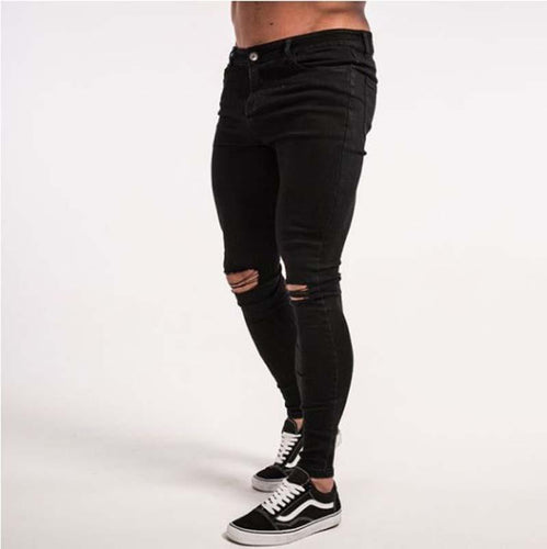 Quality Hole Slim And Elastic   Black Jeans