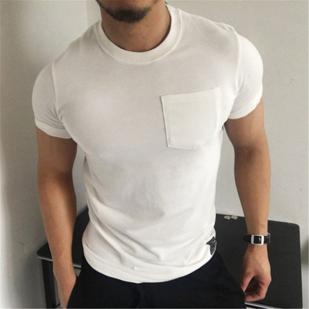 Casual Round Collar Plain Tight Muscle Men Shirt Feverway