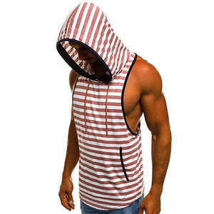 Oversize Beach Colorblock Striped Hooded Vest