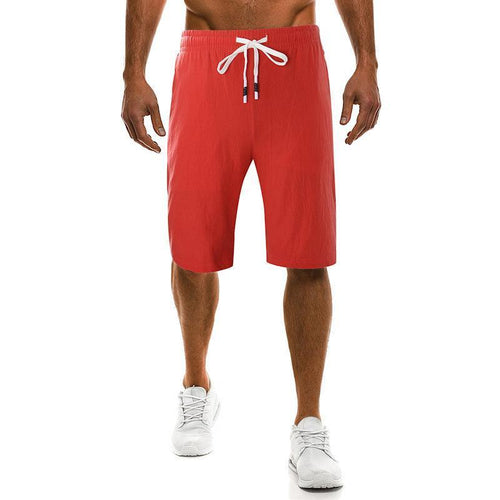 Cotton And Linen Solid Color   Large Size Casual Sports Shorts
