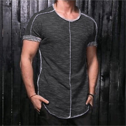 Leisure Sports Splicing Short Sleeve T-Shirts