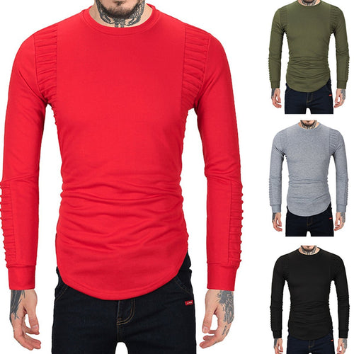 Solid Color Mens Round Neck Hoodie