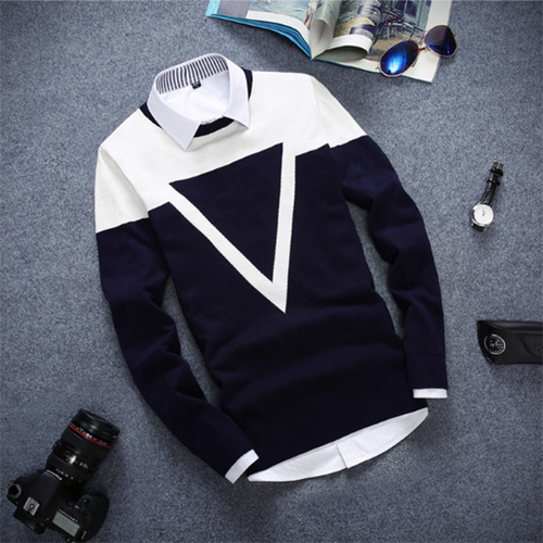 Fashion Men's Colorblock Triangle Slim Sweater