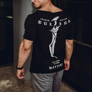 Fitness Slim Sanskrit Print Short Sleeve T-Shirt