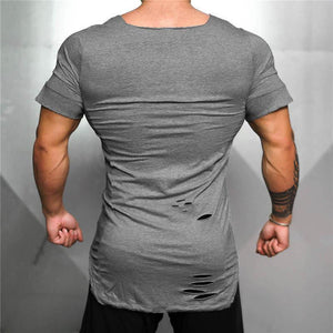 Solid Color Hole Sports Fitness   Cotton Short-Sleeved T-Shirt