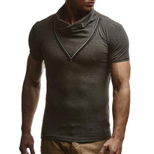 Load image into Gallery viewer, Men's Fashion Zip Stand Collar Short Sleeve T-Shirt