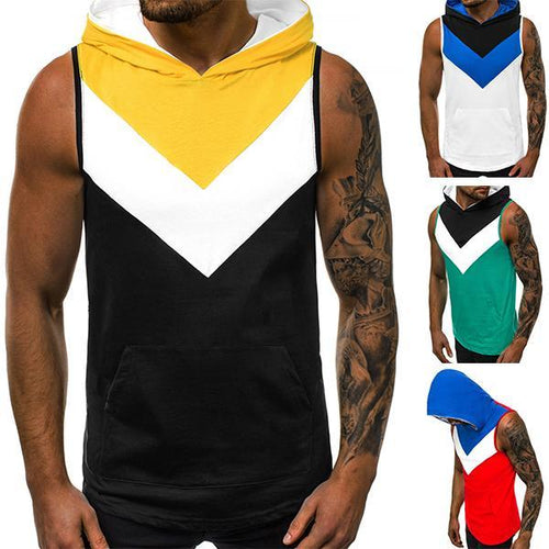 Men's Street Style Loose Colorblock Hooded Tank