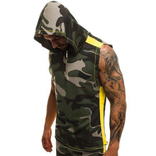 Load image into Gallery viewer, Street Style Loose Camouflage Hooded Zipper Tank