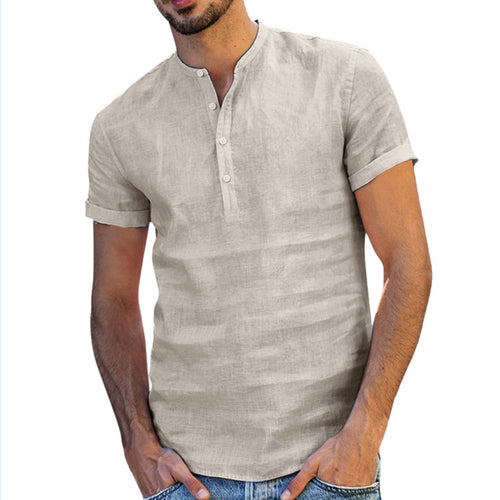 Round Collar Single Breasted T-Shirt