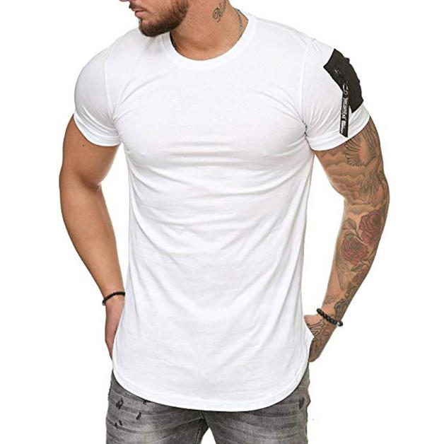 Men's Shoulder Bags Splicing Large Size Casual Sports T-Shirt