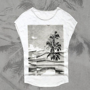 Printed Round Neck Sleeveless Beach T-Shirt