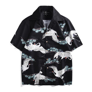 Retro Hawaiian Style Printed Loose Beach Shirt