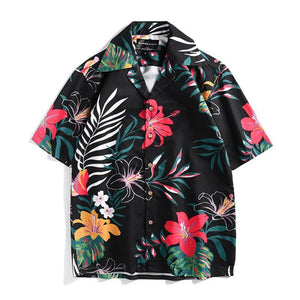 Casual Vacation Plant Printed Unisex Loose Short Sleeves Shirt