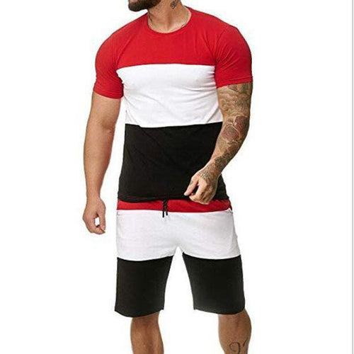 Men's Short Sleeve Set Outdoor Sports Casual Stitching Set