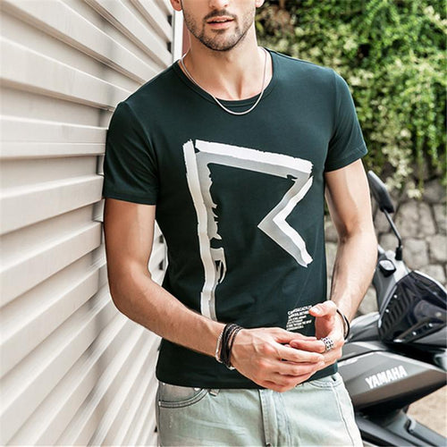Men's Slim Shirt Round Neck Tops