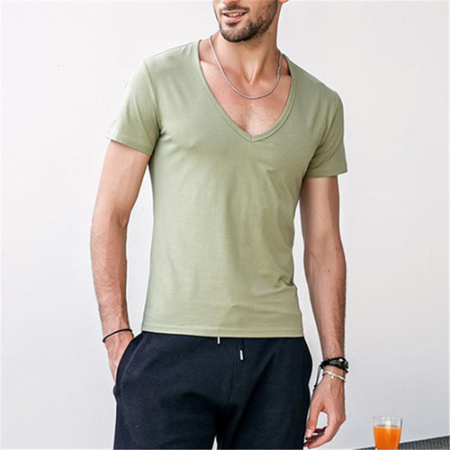 Cotton V-neck Solid Color Men's Bottoming Shirts