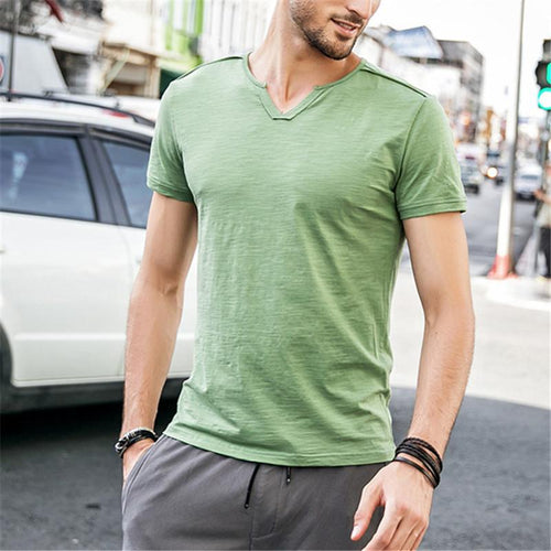 Men's t-shirt slim casual solid color