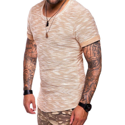 Men's Solid Color Slim Short-Sleeved T-Shirt