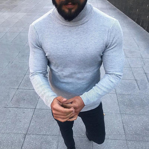Fashion Minimalist High Collar Long Sleeved Tight Sweaters