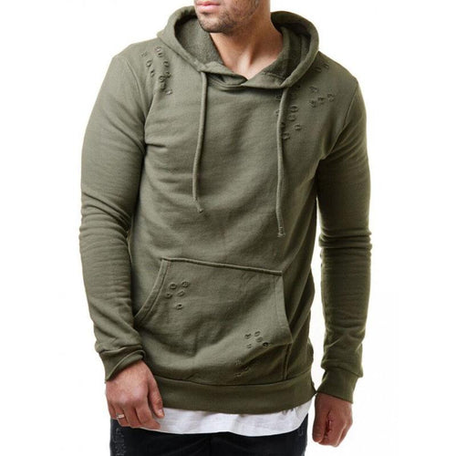 Fashion Decorative Hole Hooded Casual Sweaters