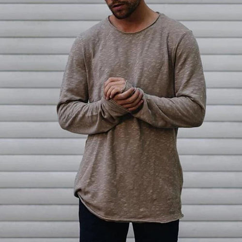 Casual Pure Colour Cotton Round Neck Long Sleeve T-Shirt