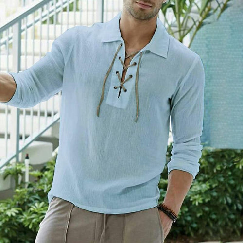 Men's Casual Shirt Solid Color Lace Shirt