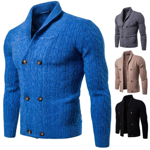 Winter New Casual Solid Color Twist Thick Double-Breasted Knit Cardigan