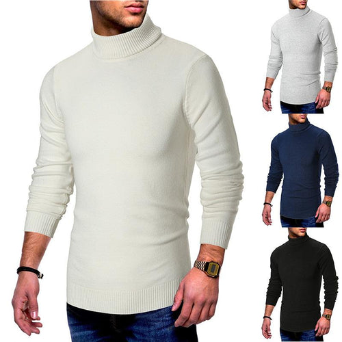 Men's Solid Color Turtleneck Long Sleeve Pullover