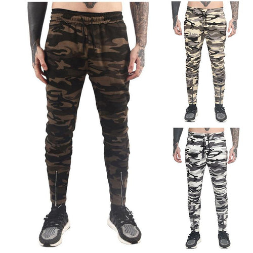 Camouflage Zipper Elastic Trousers