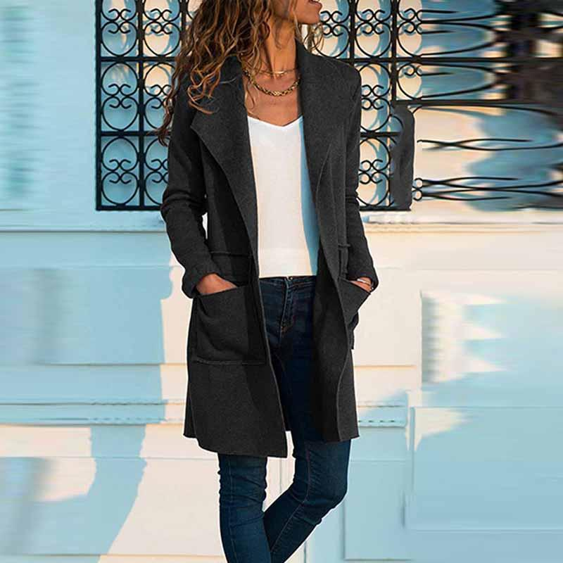 Fold Over Collar  Plain Outerwear