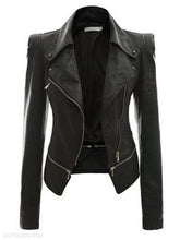 Load image into Gallery viewer, Zipper Lapel With Zips Plain Jacket