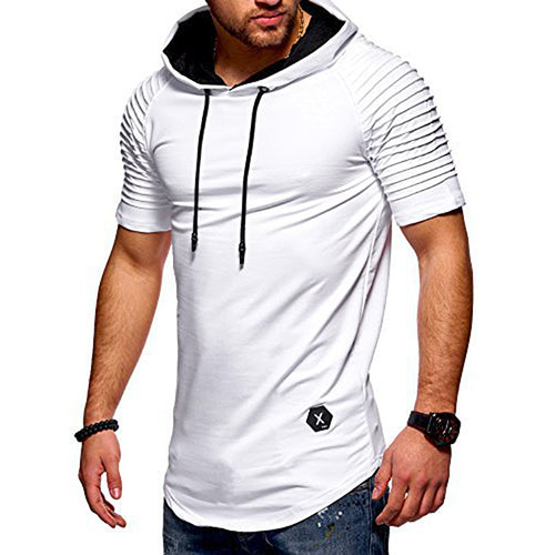 Men's T-Shirt Striped Cuffs Fitness Hooded Casual Sports T-Shirt