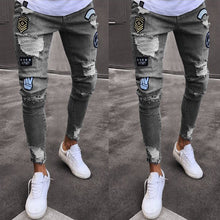 Load image into Gallery viewer, Fashion Embroidered Badge Elastic Shredded Young Slim Jeans