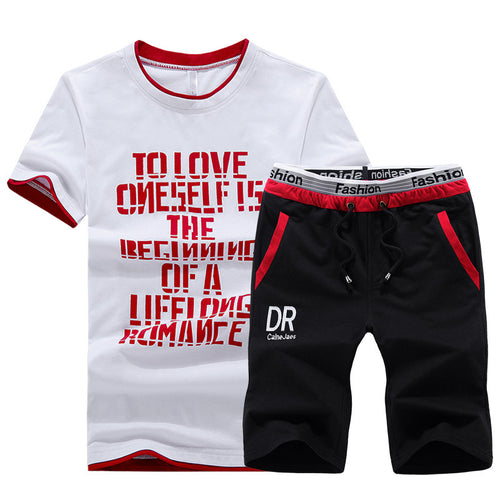 Fashion Sports Summer Street Letter Printing Men's Suit