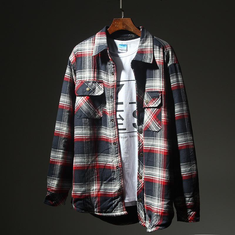 Mens Fashion Casual Loose Thick Warm Plaid Shirt
