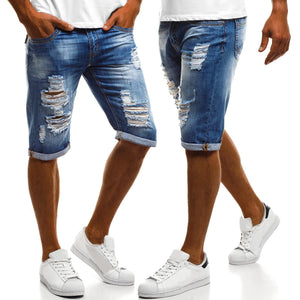 Men's Summer Jeans Solid Color Washed Hole Shorts